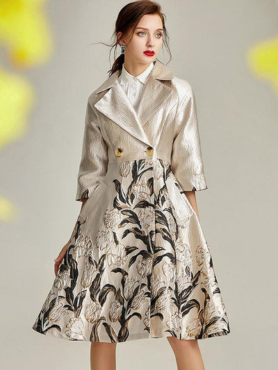 Stylish Jacquard Elegant Print Flare Sleeve Trench Coat