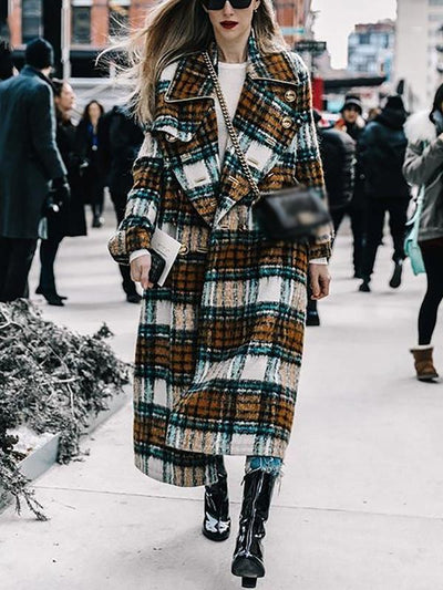 Plaid Turn Down Collar Buttoned Casual Coat