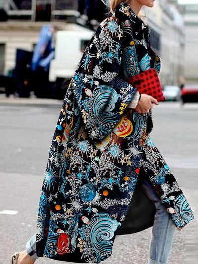 Fashion Printed Long Sleeve Turn-Down Collar Coat