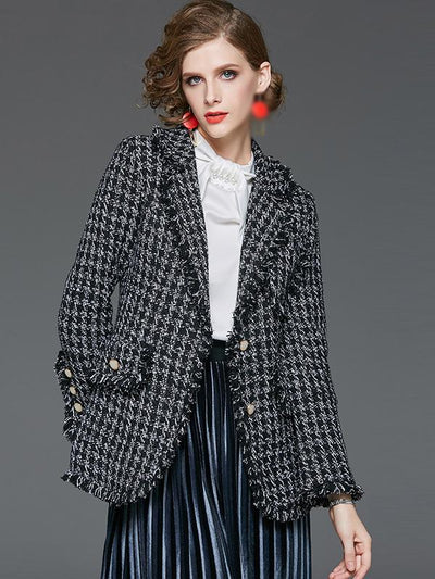 Sweet Long Sleeve Turn-Down Collar Plaid Coat