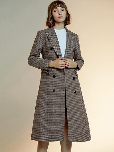 Fashion Double-Breasted Slim Turn-Down Collar Plaid Coat