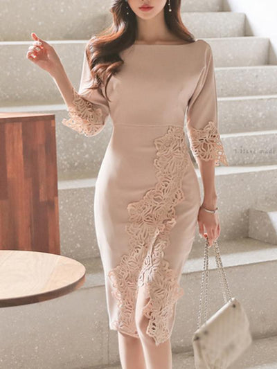 Sexy Hollow O-neck Half Sleeve Bodycon Dress
