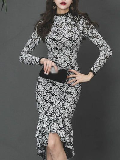 Retro Lace Stand Collar Falbala Hem Bodycon Dress
