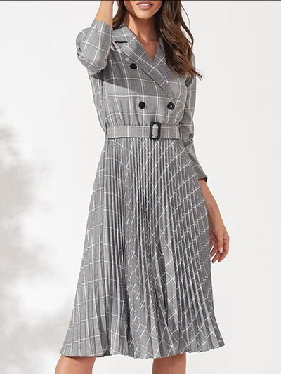 Classic Ruffled Plaid Double-Breasted Turn-Down Collar Skater Dress