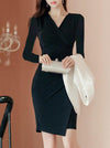 Slim Long Sleeve V-Neck Bodycon Dress