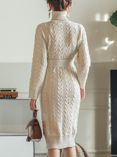 Stylish Slim Belted High Collar Long Sleeve Sweater Dress