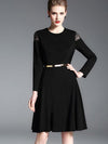 Black Lace Patchwork Gathered Waist Sweater Dress (Without Belt)