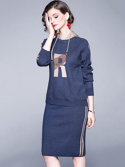 Casual Hit Color Two Piece Hooded Sweater Dress