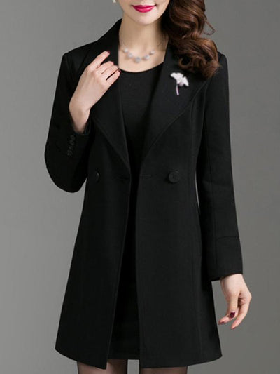 Fashion Solid Color Long Sleeve Turn-Down Collar Coat