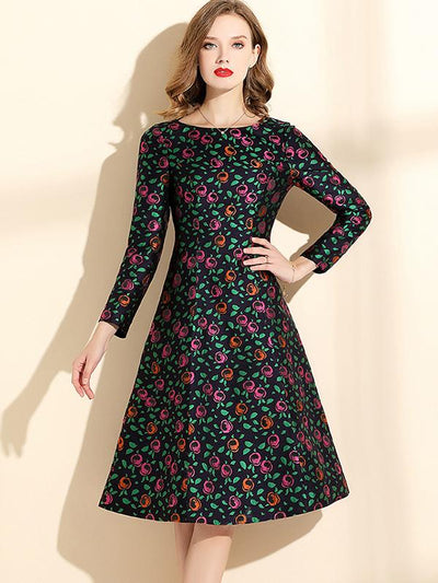 Stylish Long Sleeve Round Collar Printed Skater Dress