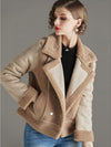 Stylish Plush Double-Breasted Turn-Down Collar Coat