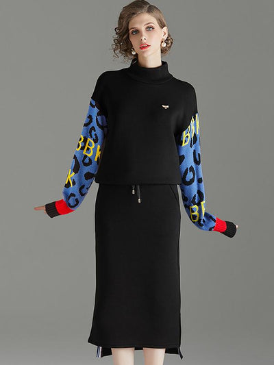 Casual Two Piece Stitching Stand Collar Long Sleeve Shift Dress