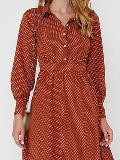 Cute Turn-Down Collar spotty Skater Dress