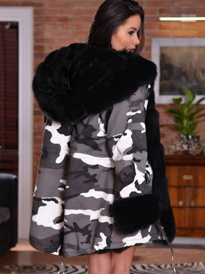 Casual Camouflage Hooded Long Sleeve Winter Coat