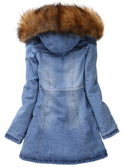 Stylish Denim Hooded Long Sleeve Coat