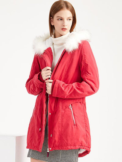 Chic Warm Solid Color Hooded Silm Coat