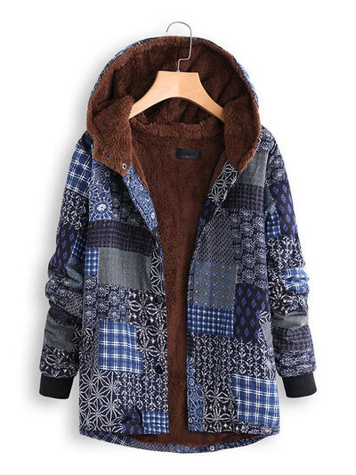 Vintage Folk Print Hooded Casual Shift Coat