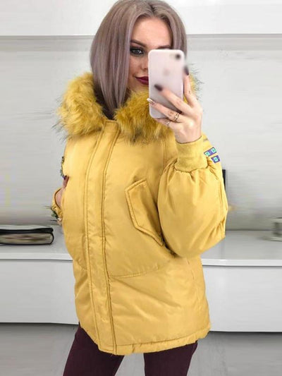 Street Winter Hooded Solid Color Shift Coat