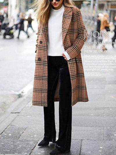 Women Plaid Cardigan Long Sleeve Long Lapel Overcoat