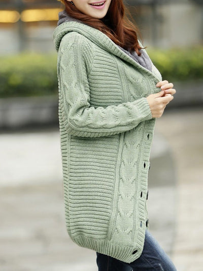 Casual Buttoned Long Sleeve Knitted Cardigan