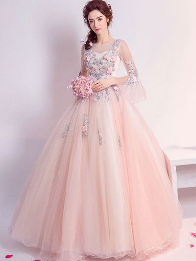 Lace Contrast Sashes Appliques Slash Neck Nine-Tenths Wedding Dresses