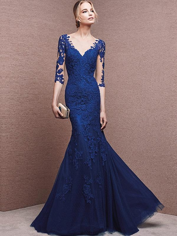 Lace Contrast O-Neck Sleevesless Sheath Long Evening Party Dresses