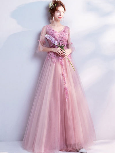 Flowers Sequined Solid Color V-Neck Flare Sleeves Weddding Dresses