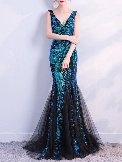 V-neck Sleevelss Mermaid Party Dresses