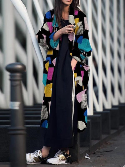 Women big lapel long sleeve printed long coats