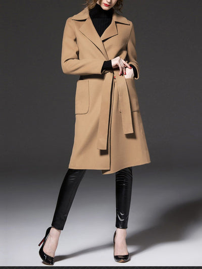 Good Quality Two Colors Large Lapel With Tie Woman Long 30 Wool Coats