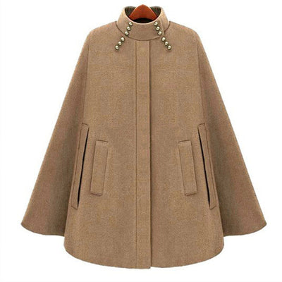 Woolen Medium Long Length Cape Coats For Woman