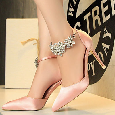 Rhinestone Appliques Stiletto Heel Wedding Shoes Woman Pumps