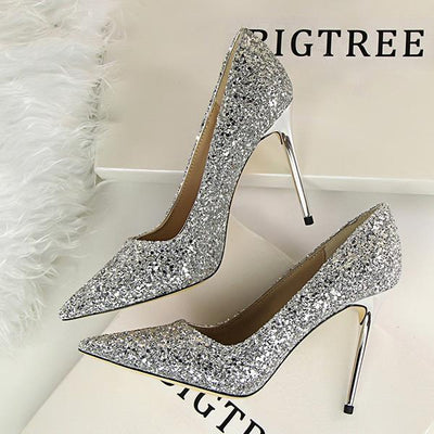 High-heeled sparkly sequined shine pumps shoes