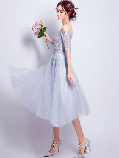 Embroidery Sequined Solid Color Slash Neck Half Sleeves Wedding Dresses