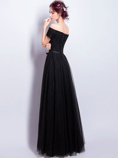 Solid Color Slash Neck Slim Tulle Simple Elegant Party Wedding Dresses