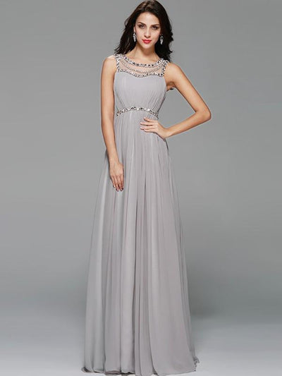 Sequined Solid Color O-Neck Sleeveless Backless Wedding Dresses