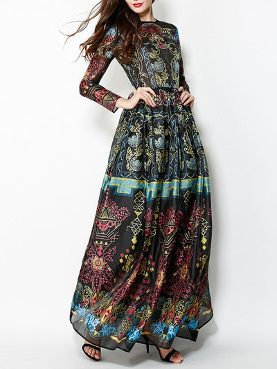 Long Sleeve Round Neck Black Printed Chiffon Maxi Long Dress Party Dresses