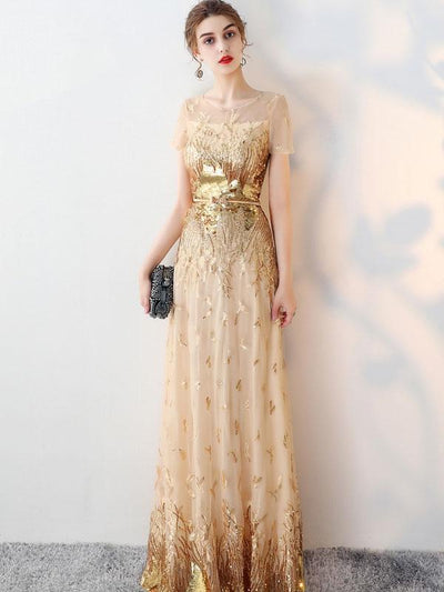 Printing Sequined Contrast O-Neck Short Sleeves Sheath Wedding Dresses