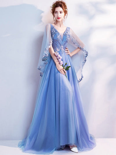 Beadings Embroidery Deep V Neck Fairy Style Blue Elegant Tulle Wedding Dresses