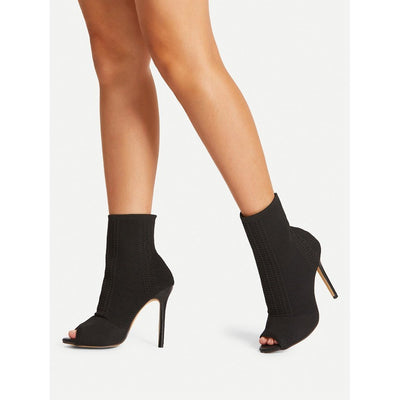 Peep Toe Knit Design Stiletto Heels - Anabella's