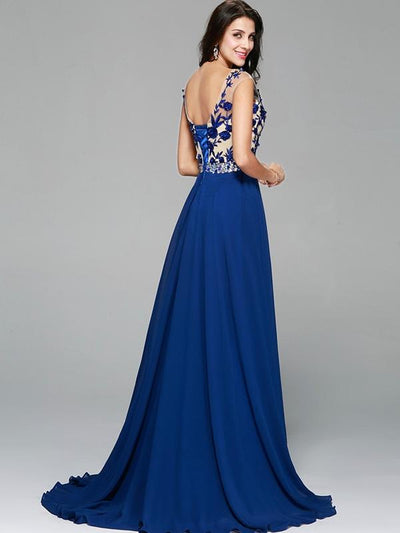 Embroidery Sequined Contrast O-Neck Sleeveless Backless Party Dresses