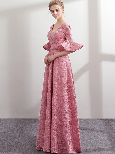 Embroidery Lace Contrast Deep Flare Sleeves Long Wedding Dresses