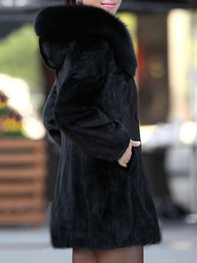 Luxury Black Hooded Faux Fur Coat black l