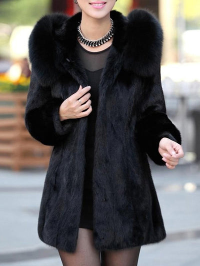 Luxury Black Hooded Faux Fur Coat black s