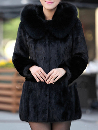 Luxury Black Hooded Faux Fur Coat black xl