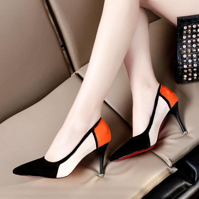Fashion Spell Color Shallow Mouth High Heels Shoes