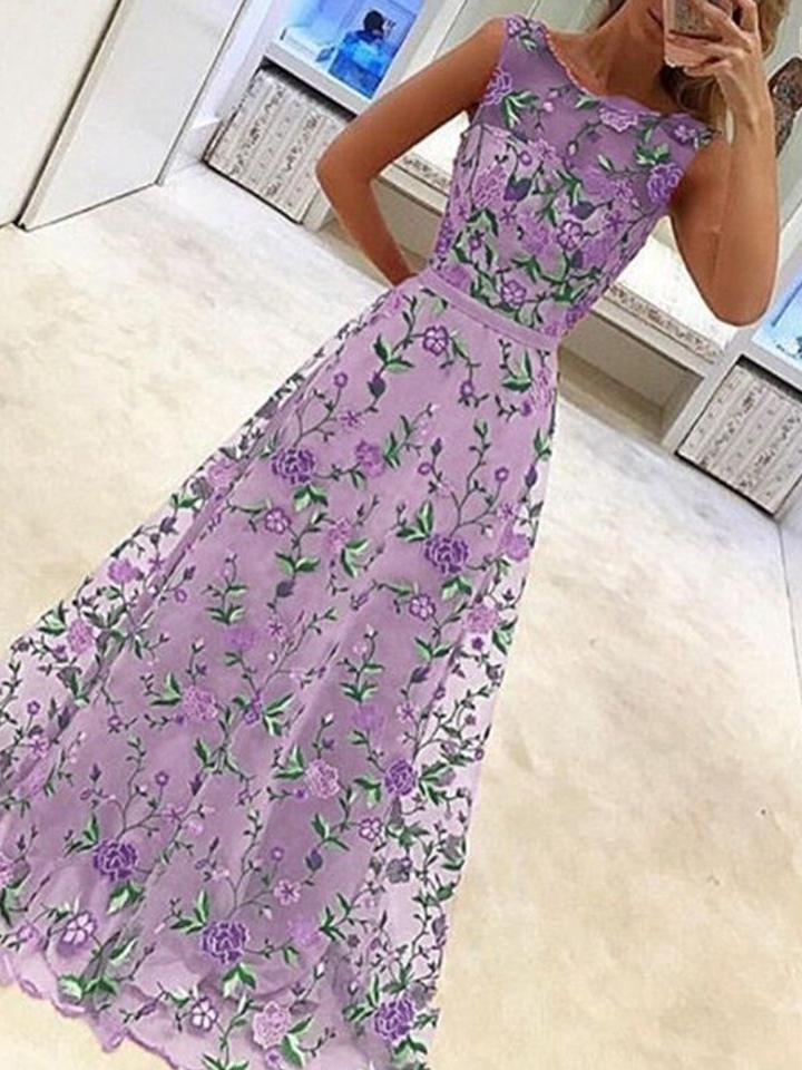 New Elegant Embroidery Printed Sleeveless Expansion Evening Party Dress