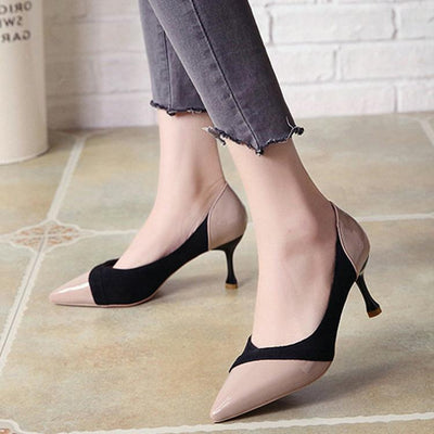 Fashion Elegant Spell Color High Heel Woman Shoes