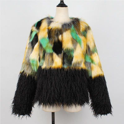 Faux Fur Fashion Patchwork Long Sleeve Coats