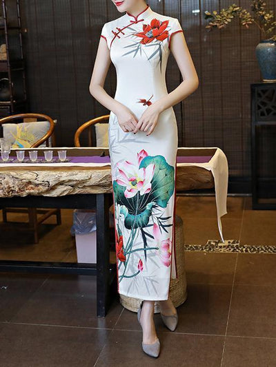 Vintage Floral-printed Long Cheongsams Casual Dresses